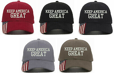 Trump Hats - Keep America Great MAGA Hat USA 300 w/ Flag Brim Adjustable Hat