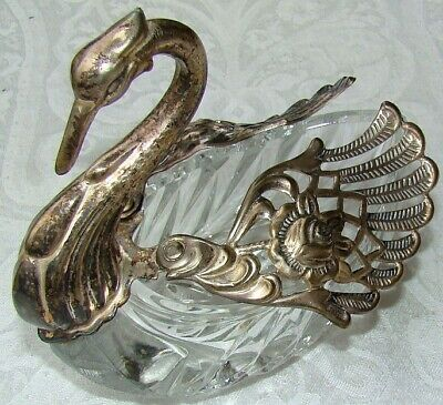"""LARGE 5 1/2"""" ORNATE Repousse SILVER PLATE Wing CUT GLASS SWAN Open Salt Cellar"""
