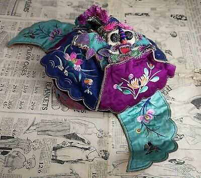 Antique Chinese silk festival hat, Tiger, 19th century, Qing dynasty hat