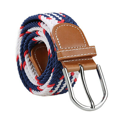 Unisex Canvas Elastic Fabric Woven Stretch Multicolored Braided Belts