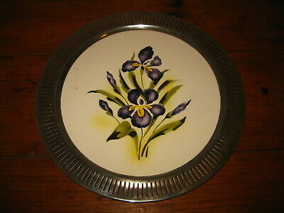 Antique European Art Deco Majolica Serving Tray Porcelain Brass Facing Frame