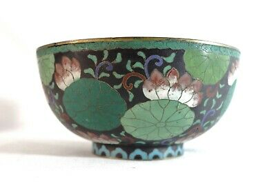 Antique Japanese Meiji Great Ming Cloisonne Bowl w Birds Fuku