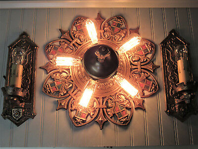 Vintage Antique Cast Bronze Flush Mount Light Sconces Gothic Mission Craftsman