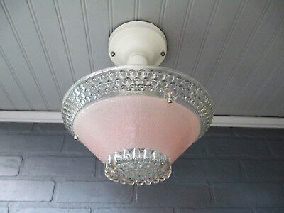 Vintage Antique Art Deco Semi Flush Mount Pink Hobnail Light Fixture Rewired UL
