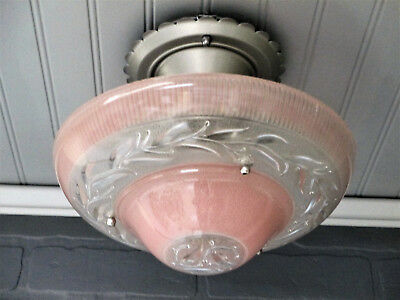 VINTAGE Antique Art Deco Semi Flush Mount Ceiling Light Rose Glass Satin Nickel