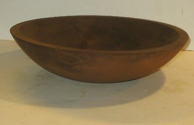 Vintage or Antique Wooden Bowl With Worn Butterscotch Spice Paint