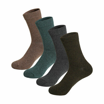 Men 4 Pack Elastic Cuff Stretchy Cotton Blends Thermal Crew Socks