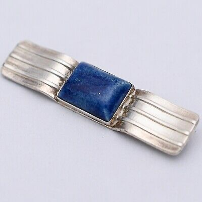 Vintage Art Deco Machine Age Modernist Sterling Silver Lapis Glass Brooch Pin