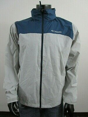 NWT Mens M Columbia Glennaker Lake Packable Hooded Waterproof Jacket - Grey