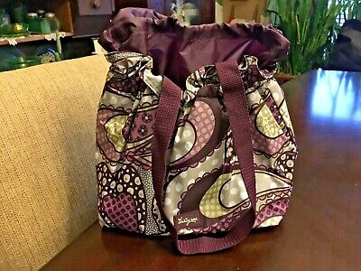 0bacb5c830d Thirty One Cinch It Up Thermal Tote Purple Patchwork Lunch Bag NWOT Super  Nice!