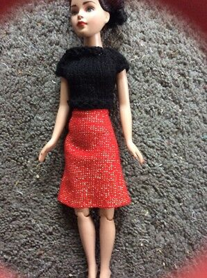 "Black Knit Sweater & Gold And Red Skirt for 10"" Kitty Collier"