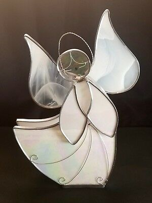 """White Iridescent Stained Glass Angel Tea light Candle Holder Silver Trim 12"""""""