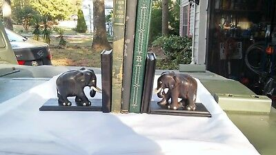 1930's ANTIQUE HAND CARVED EBONY BONE TUSK ELEPHANT BOOKENDS