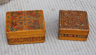 Lot of 2 antique old  wood vintage jewelry box pyrography Post-1940