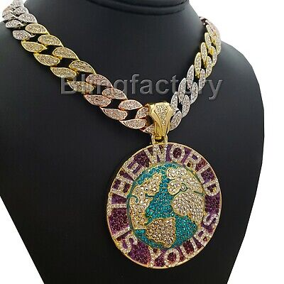 "The World Is Yours & 18"" Iced Multi Color Cuban Chain Hip Hop Fashion Necklace"