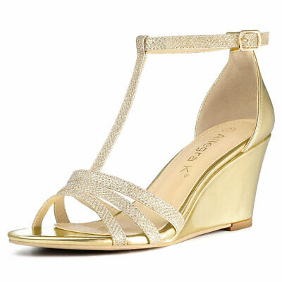 80b7f109347 ALLEGRA K WOMEN'S Glitter T-Strap Low Wedge Heel Dress Sandals ...