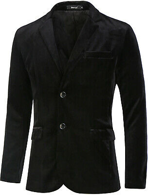 Men Velvet Blazer Slim Fit Notch Lapel Two Buttons Sport Coat Jacket