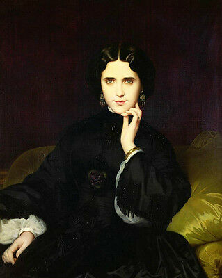 Oil painting Hand painted portrait young noble lady in black dress on sofa art