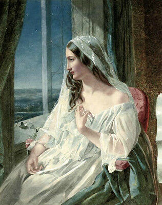 Oil painting John Simmons nice young woman seated by window wearing white dress