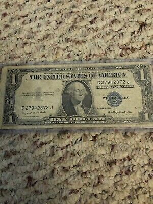1935-G $1.00 Silver Certificate Blue Seal Note One Dollar Bill !