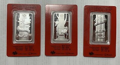 Lot Of 3 PAMP Swiss Silver Bar 1 oz -2012 Dragon,2013 Snake & 2014 Horse Design
