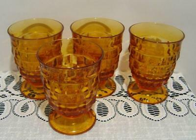 Four Indiana Glass Amber Colony Whitehall Cubist footed Juice Glasses