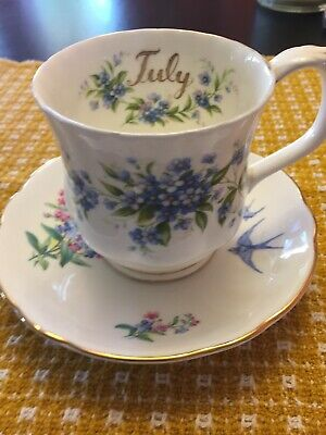 vintage forget me not flowers Tea Cup Married Royal Albert July