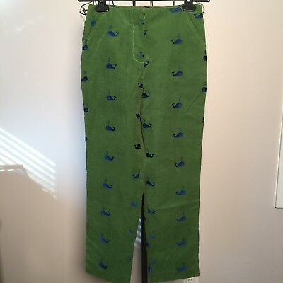 LILLY PULITZER girls Blue/Green Embroidered Whale Pants 12 Pinwale Corduroy KIDS