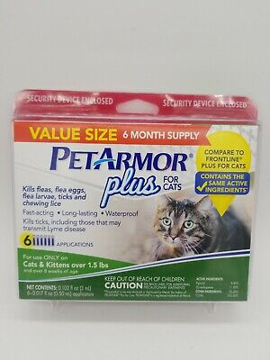 Brand New Sealed PetArmor Plus for Cats Flea Tick Treatment 6 months Ships free!