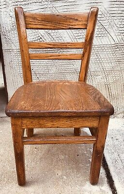 Antique  Child'S Oak Classroom Chair Made In Usa