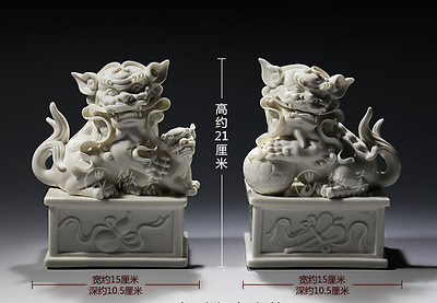 "8"" Chinese Dehua White Porcelain Foo Fu Dog Guardion Lion Leo Ball Statue Pair"