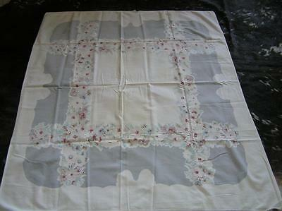 "Vintage Cotton 1940's Tablecloth light grey burgundy Floral Bouquet 44"" x 50"""