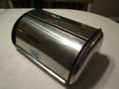 Silver Chrome Metal Bread Box Kitchen Stainless Steel Roll Top Storage Container