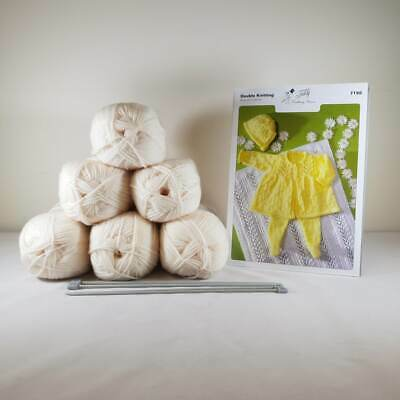 Baby Matinee Set and Blanket Knitting Kit Cream