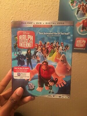 Disney's Ralph Breaks the Internet 2019 Blu-Ray/ DVD/ Digital With Slipcover