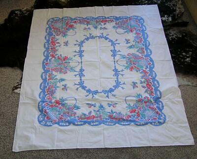 Vintage 1940's Red Blue Flower Basket Cotton Tablecloth French Country 55x70