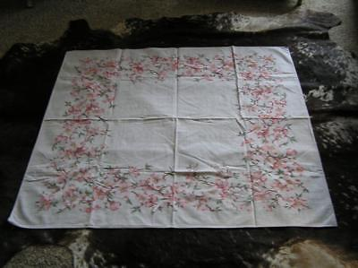 Vintage 1940's Pink Flowers on Grey Cotton Tablecloth French Country 55x50 Sq