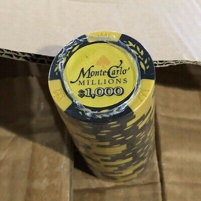 Monte Carlo Millions $1000 Sleeve Of 25 Poker Chips Black/yellow NEW