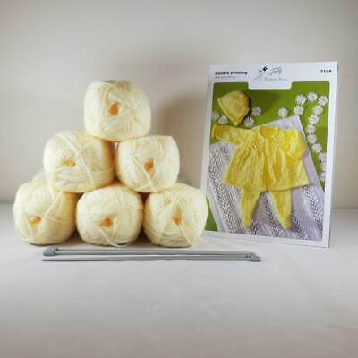 Baby Matinee Set and Blanket Knitting Kit Lemon