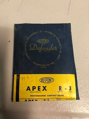 Vintage DuPont Defender White Glossy Photographic paper Apex R-3
