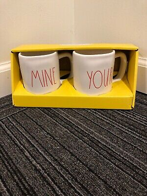 Rae Dunn Artisan Collection MINE YOURS Coffee Mug Gift Set Red Valentine NEW