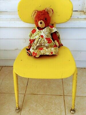 Vintage Mid century Primary School Child Chair yellow Composition Seat
