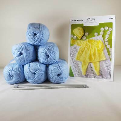 Baby Matinee Set and Blanket Knitting Kit Blue
