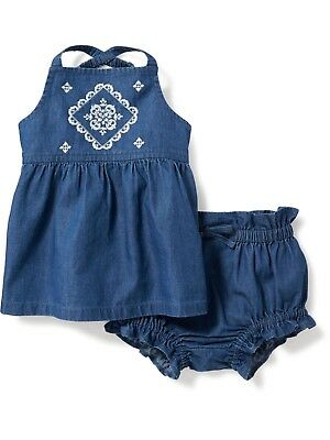 NWT OLD NAVY BABY GIRLS ROMPER SIZE 0 3 6 Months 2 PIECE blue set outfit BLOOMER