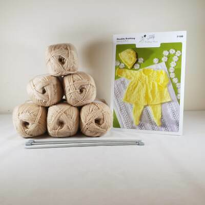 Baby Matinee Set and Blanket Knitting Kit Beige