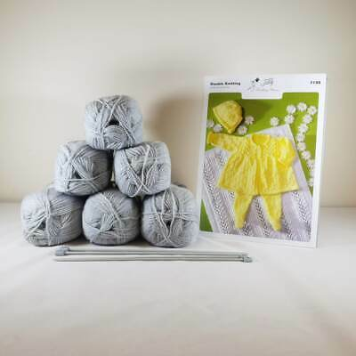 Baby Matinee Set and Blanket Knitting Kit Light Grey