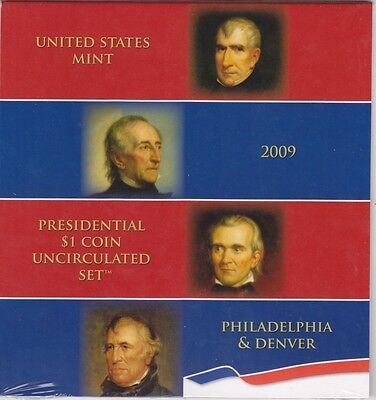 Us Mint 2009 Uncirculated Presidential Dollar P & D 8 Coin Set - Xe3 - Sealed