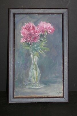 Antique Still Life Floral Oil Painting On Canvas New York City Artist - Signed