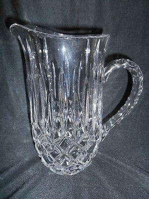 "CRYSTAL Glass  9 1/2""  PITCHER DIAMOND Pattern  ~ signed"