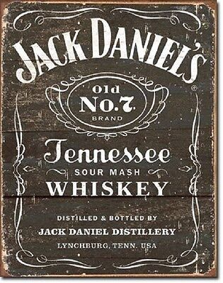 Jack Daniel's Tennessee Whiskey Weathered Woodcut Logo Decor Metal Tin Sign New